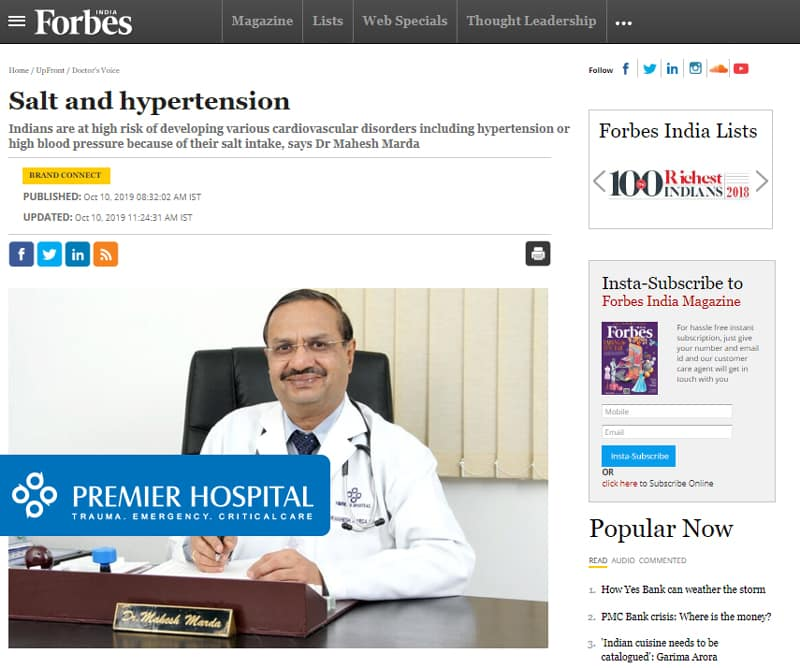 An Article On Salt & Hypertension Published In Forbes India By Dr. Mahesh Marda