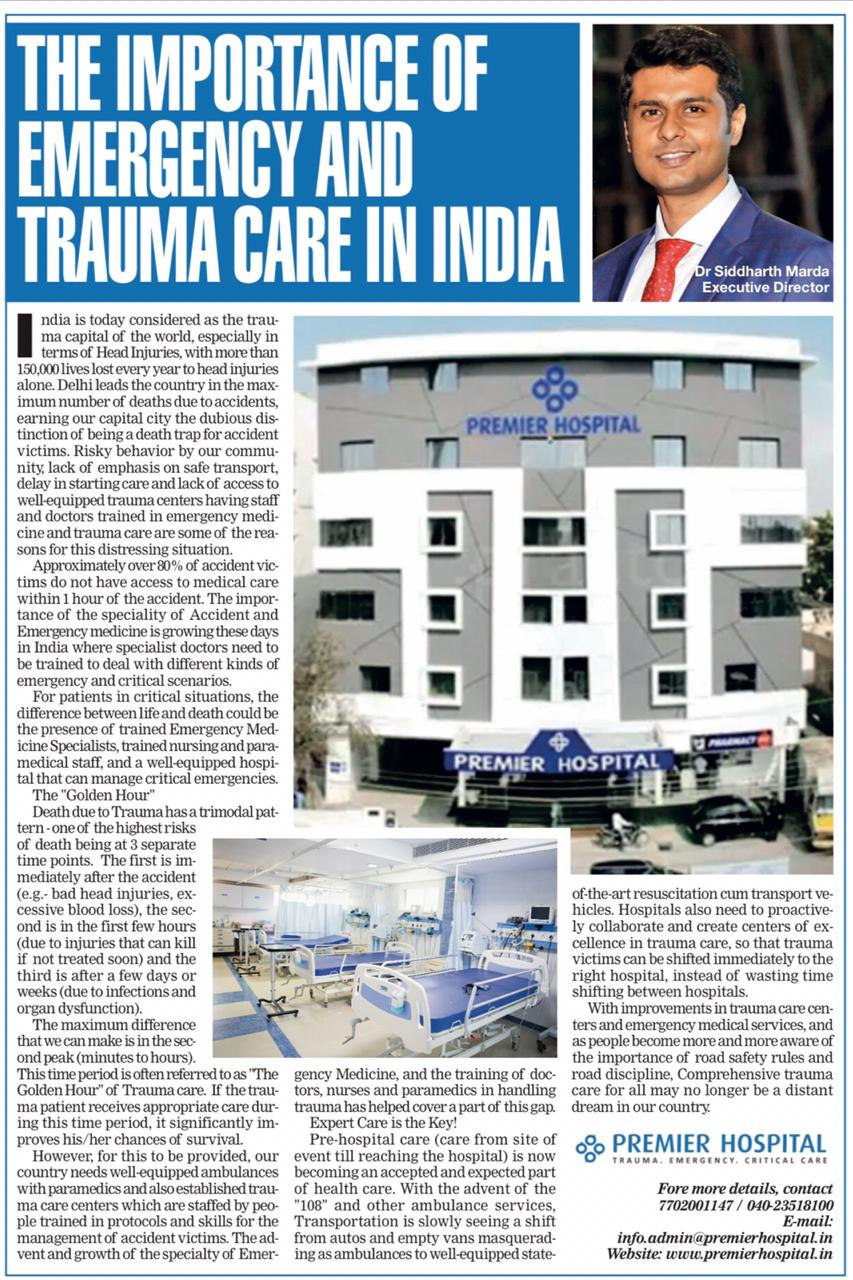 An Article In Times Of India About Premier Hospitals Critical & Trauma Care Services