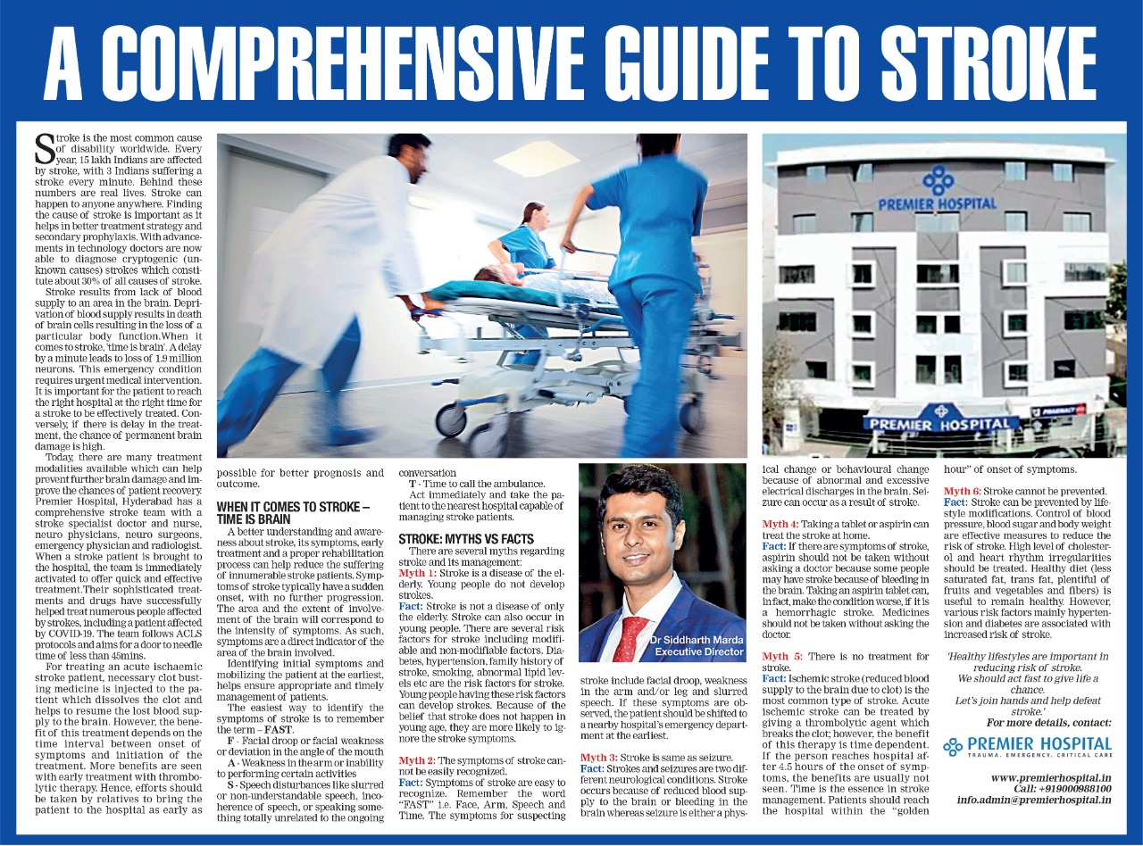 A comprehensive guide to stroke – An article in Times Health by Dr. Sidharth Mardha, Executive Director, Premier Hospital